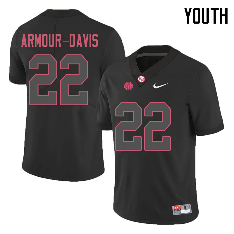 Youth #22 Jalyn Armour-Davis Alabama Crimson Tide College Football Jerseys Sale-Black