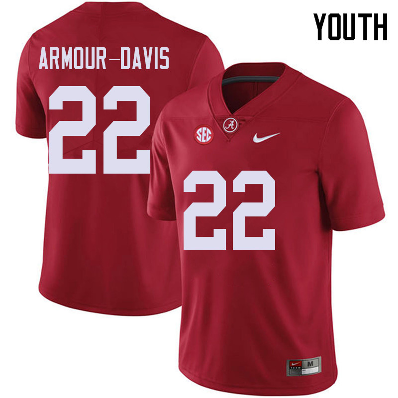 Youth #22 Jalyn Armour-Davis Alabama Crimson Tide College Football Jerseys Sale-Red
