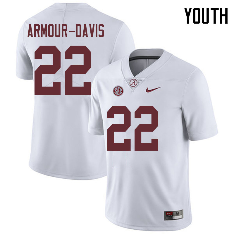 Youth #22 Jalyn Armour-Davis Alabama Crimson Tide College Football Jerseys Sale-White