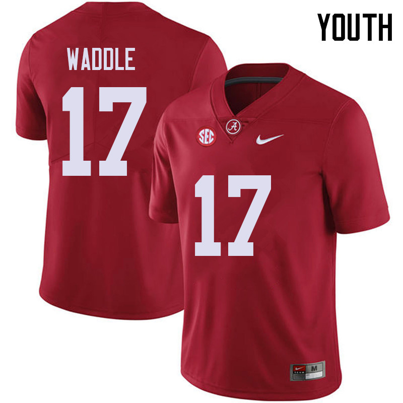 Youth #17 Jaylen Waddle Alabama Crimson Tide College Football Jerseys Sale-Red