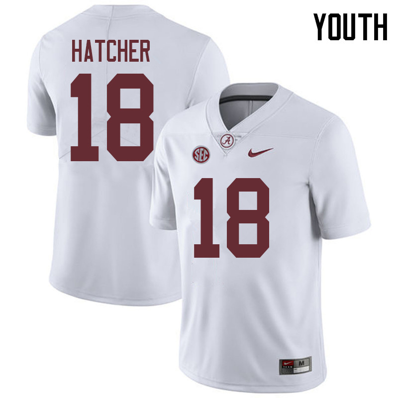 Youth #18 Layne Hatcher Alabama Crimson Tide College Football Jerseys Sale-White