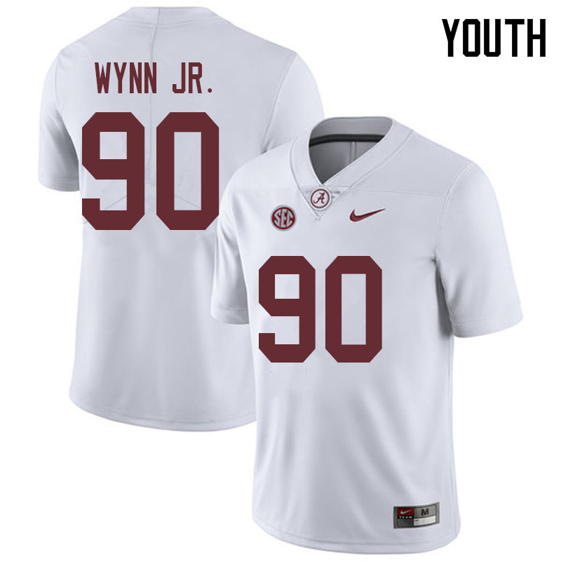 Youth #90 Stephon Wynn Jr. Alabama Crimson Tide College Football Jerseys Sale-White