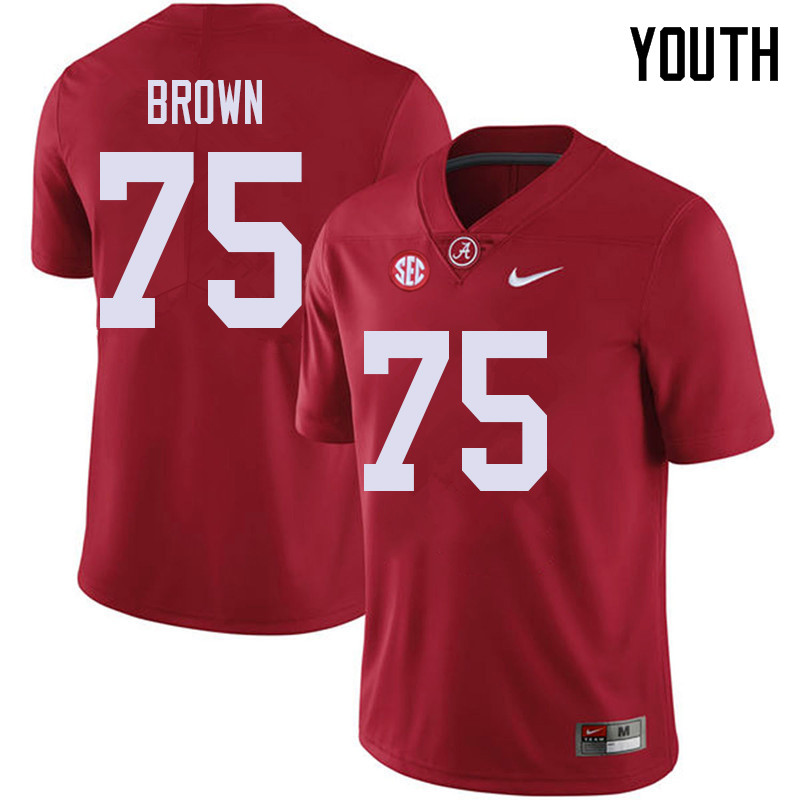 Youth #75 Tommy Brown Alabama Crimson Tide College Football Jerseys Sale-Red