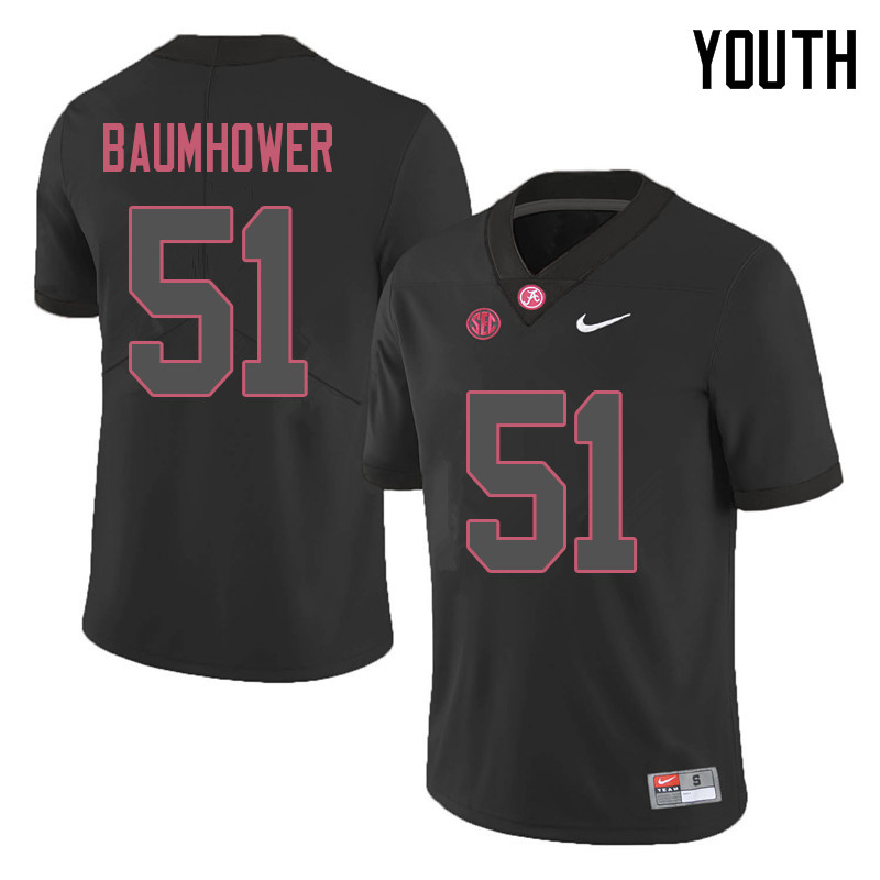 Youth #51 Wes Baumhower Alabama Crimson Tide College Football Jerseys Sale-Black