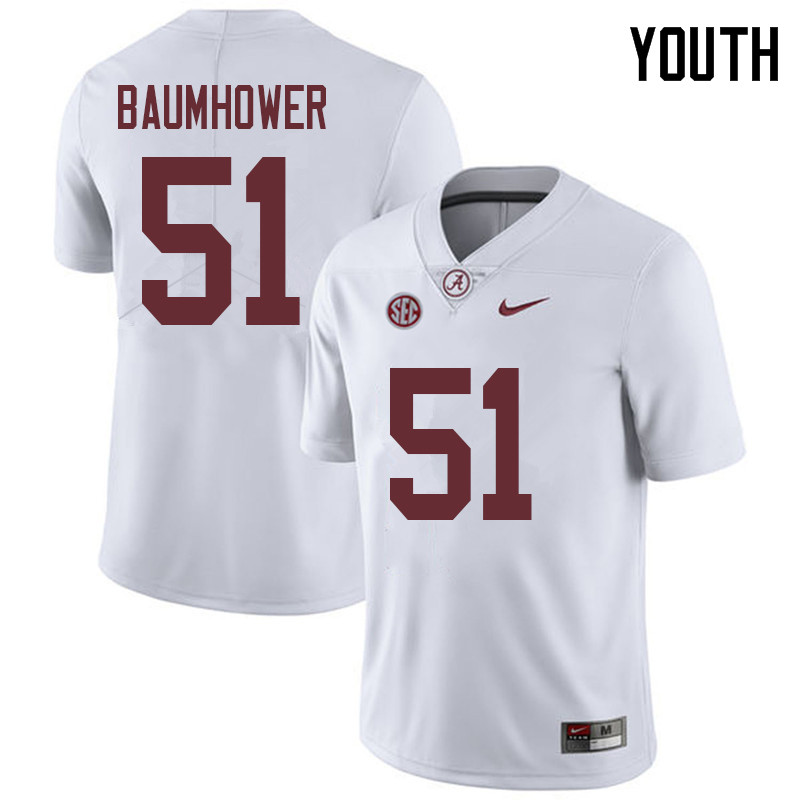 Youth #51 Wes Baumhower Alabama Crimson Tide College Football Jerseys Sale-White