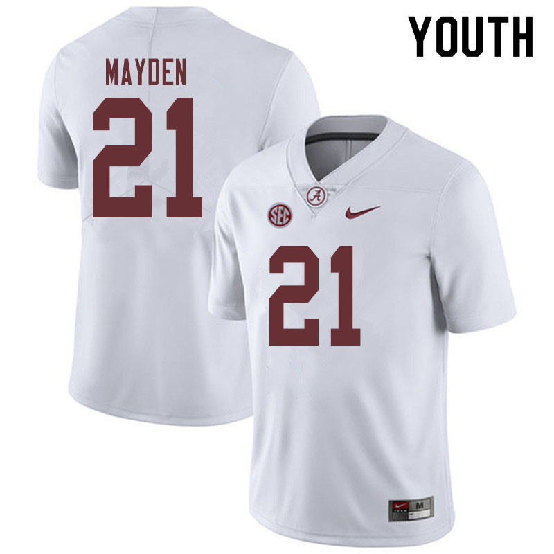 Youth #21 Jared Mayden Alabama Crimson Tide College Football Jerseys Sale-White
