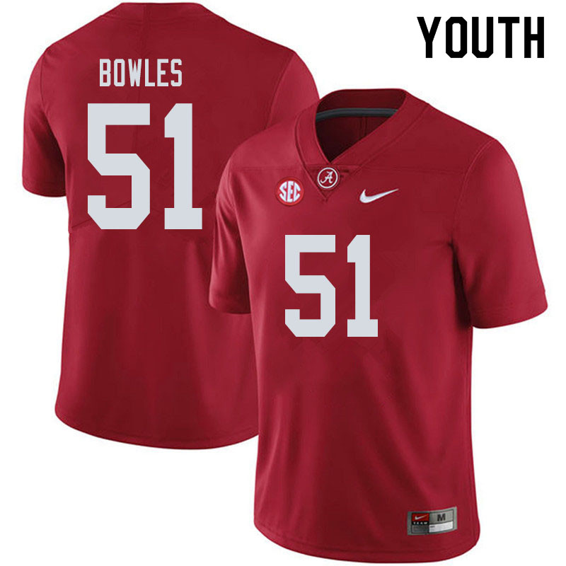 Youth #51 Tanner Bowles Alabama Crimson Tide College Football Jerseys Sale-Crimson