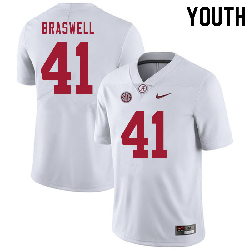 Youth #41 Chris Braswell Alabama White Tide College Football Jerseys Sale-White