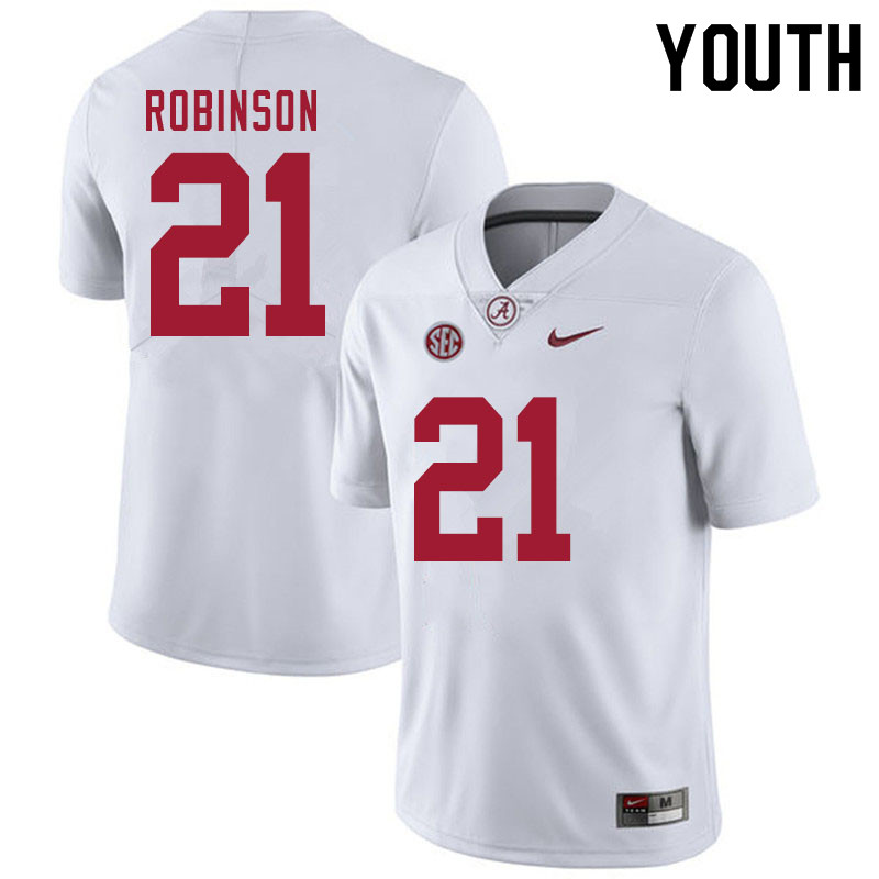 Youth #21 Jahquez Robinson Alabama White Tide College Football Jerseys Sale-White