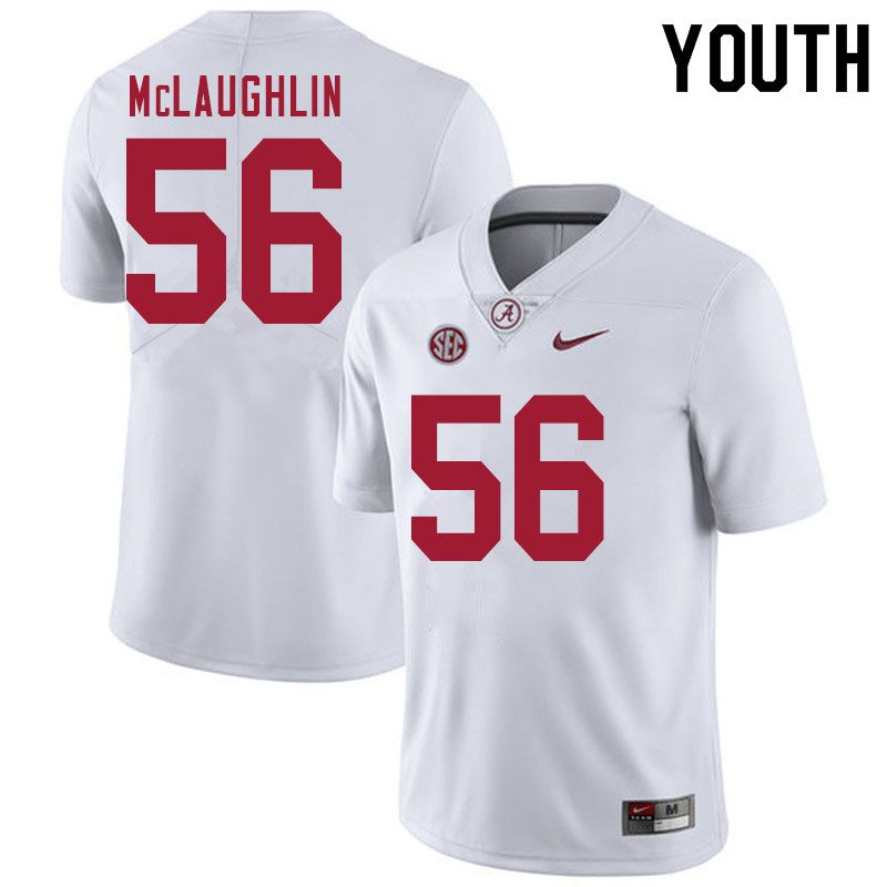 Youth #56 Seth McLaughlin Alabama White Tide College Football Jerseys Sale-White