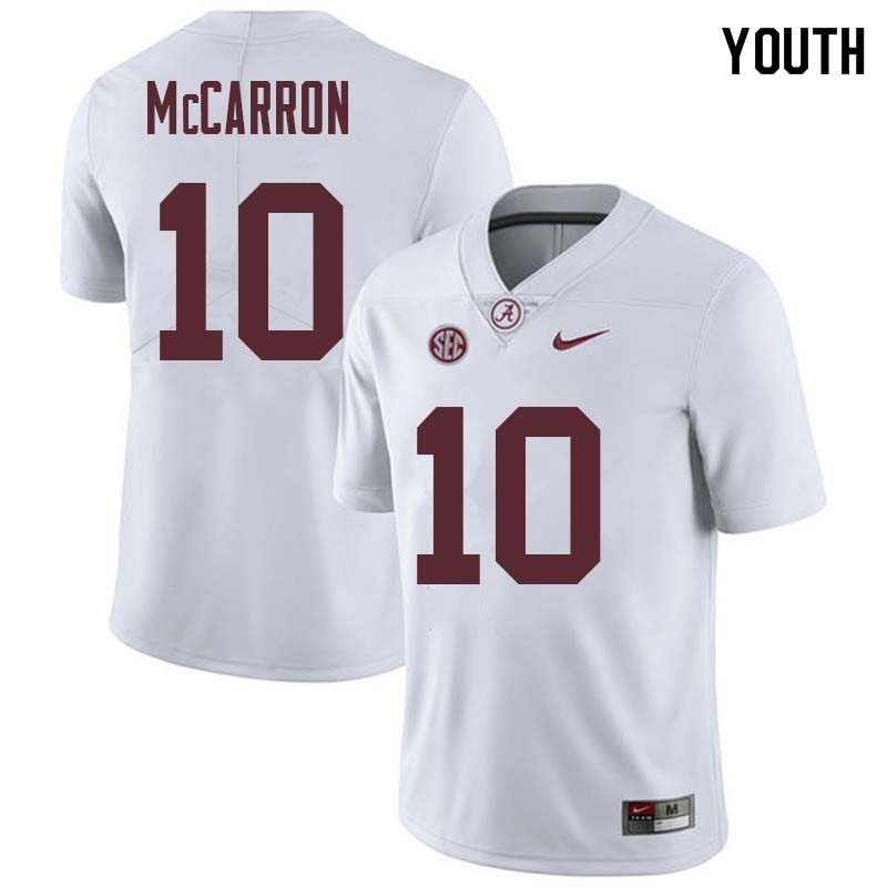 Youth #10 AJ McCarron Alabama Crimson Tide College Football Jerseys Sale-White