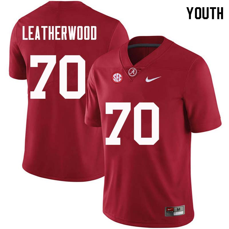 Youth #70 Alex Leatherwood Alabama Crimson Tide College Football Jerseys Sale-Crimson