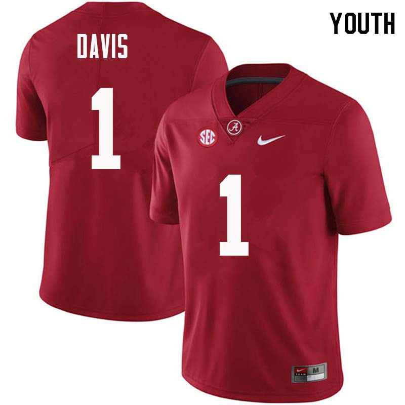 Youth #1 Ben Davis Alabama Crimson Tide College Football Jerseys Sale-Crimson