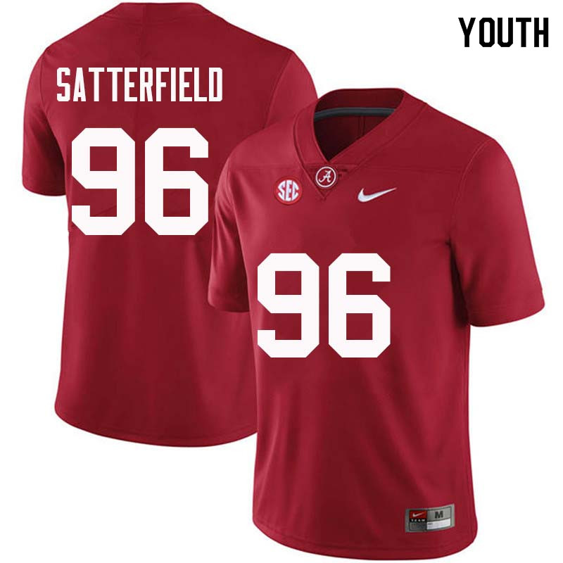Youth #96 Brannon Satterfield Alabama Crimson Tide College Football Jerseys Sale-Crimson