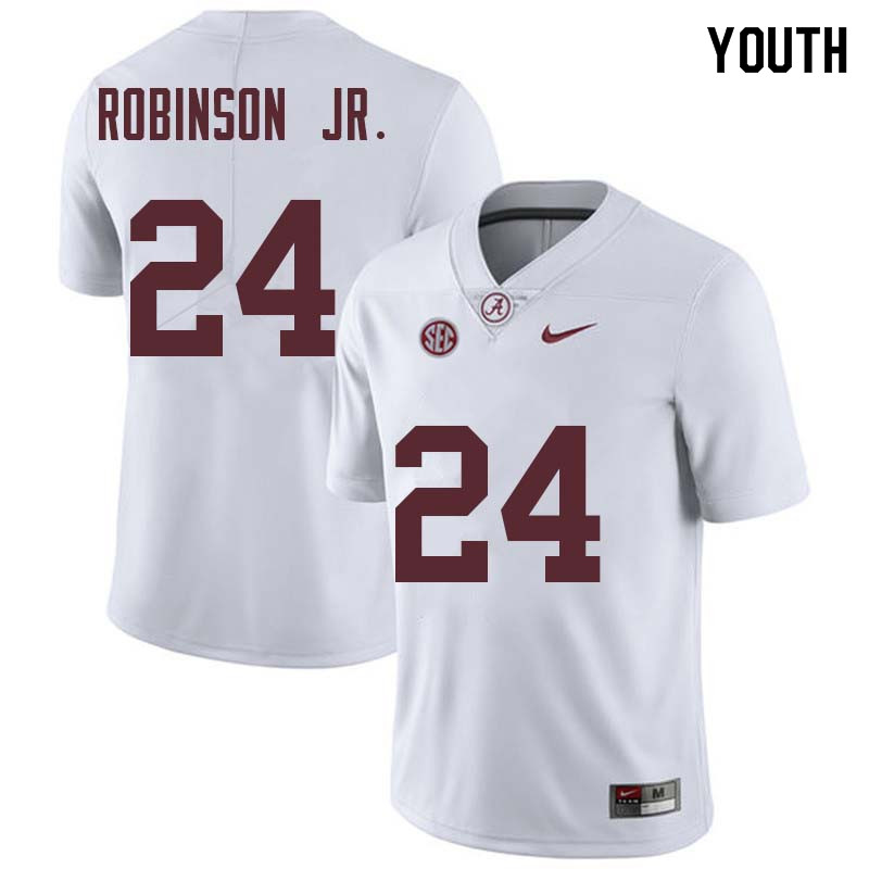 Youth #24 Brian Robinson Jr. Alabama Crimson Tide College Football Jerseys Sale-White