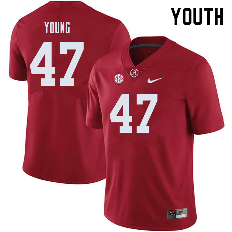 Youth #47 Byron Young Alabama Crimson Tide College Football Jerseys Sale-Crimson