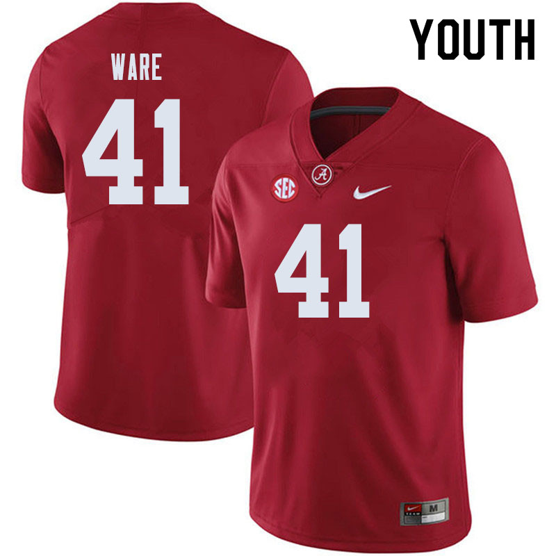 Youth #41 Carson Ware Alabama Crimson Tide College Football Jerseys Sale-Crimson