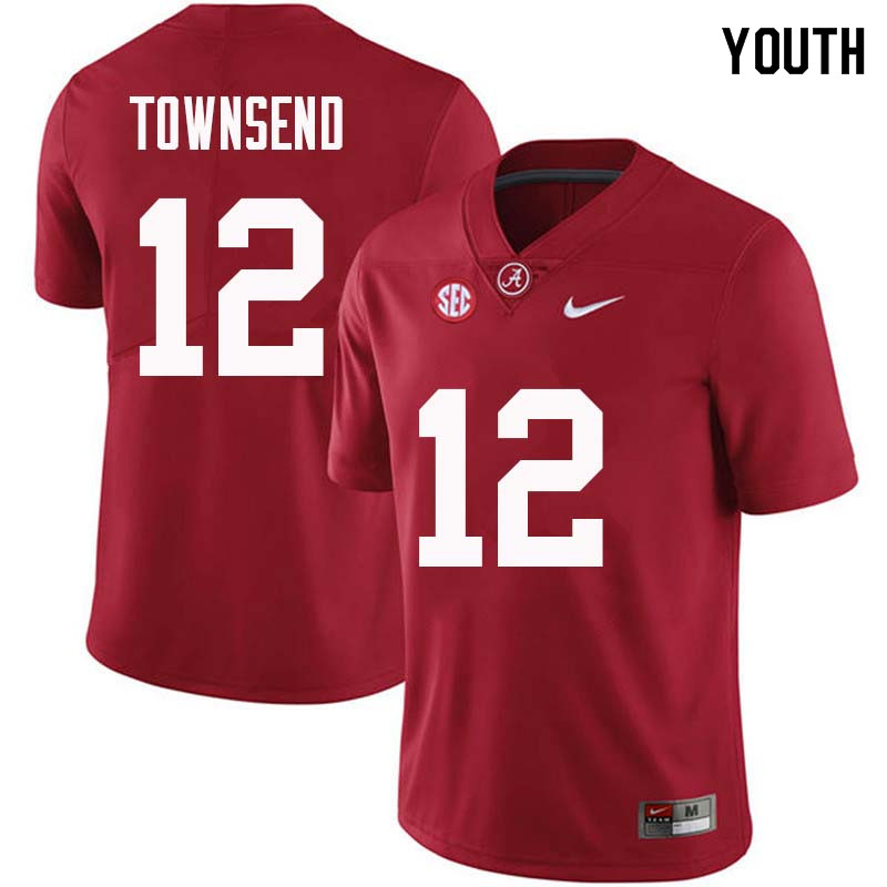 Youth #12 Chadarius Townsend Alabama Crimson Tide College Football Jerseys Sale-Crimson