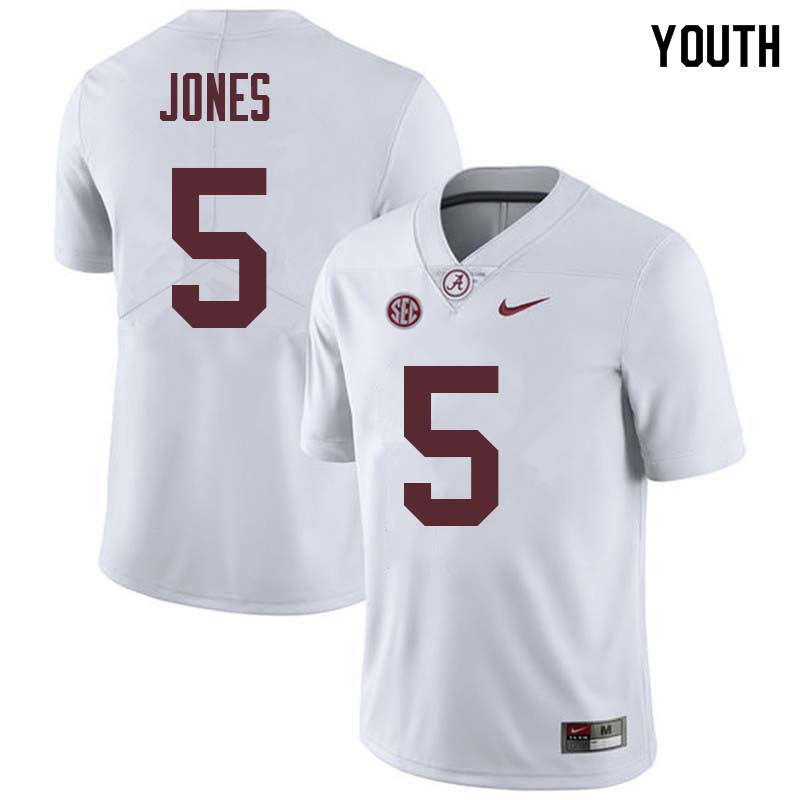 Youth #5 Cyrus Jones Alabama Crimson Tide College Football Jerseys Sale-White
