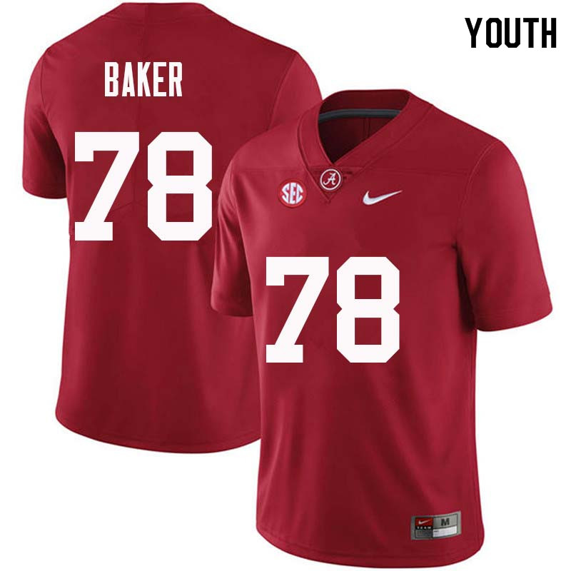 Youth #78 Elliot Baker Alabama Crimson Tide College Football Jerseys Sale-Crimson