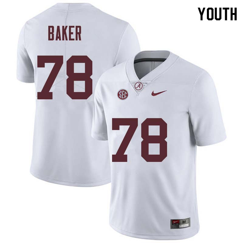 Youth #78 Elliot Baker Alabama Crimson Tide College Football Jerseys Sale-White