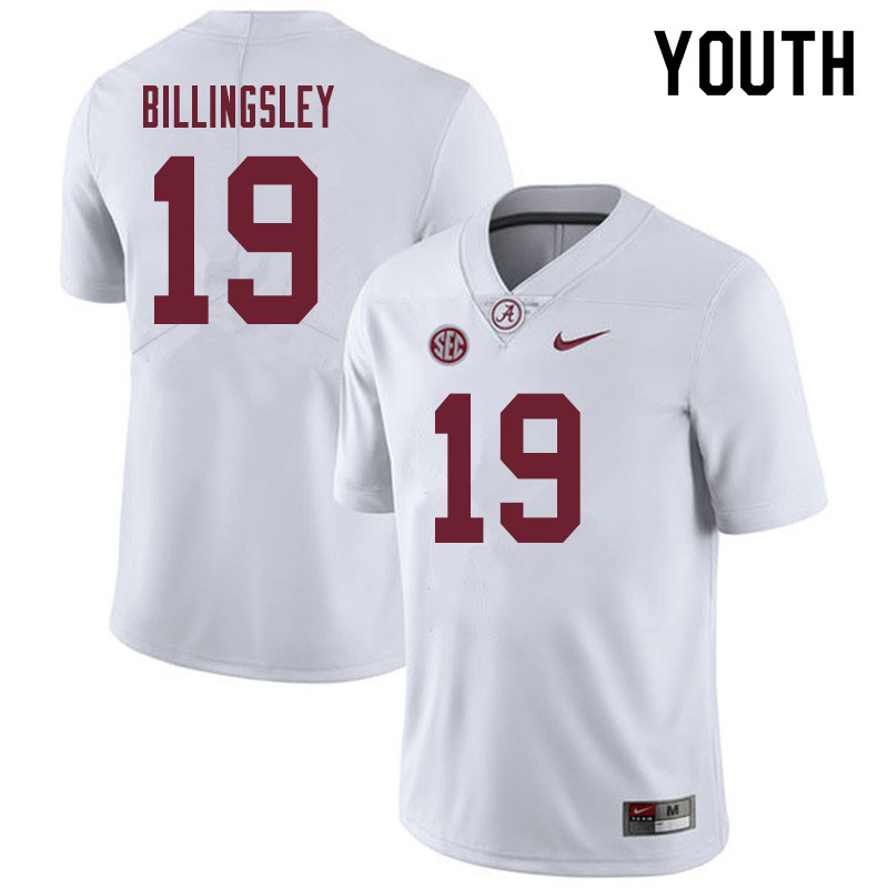 Youth #19 Jahleel Billingsley Alabama Crimson Tide College Football Jerseys Sale-White