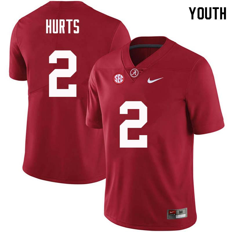 Youth #2 Jalen Hurts Alabama Crimson Tide College Football Jerseys Sale-Crimson