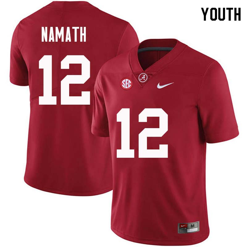 Youth #12 Joe Namath Alabama Crimson Tide College Football Jerseys Sale-Crimson