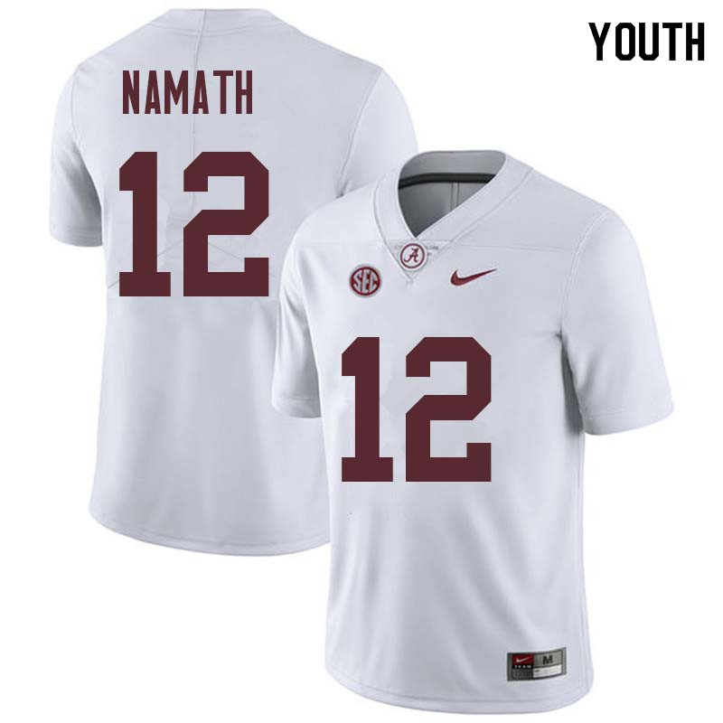 Youth #12 Joe Namath Alabama Crimson Tide College Football Jerseys Sale-White