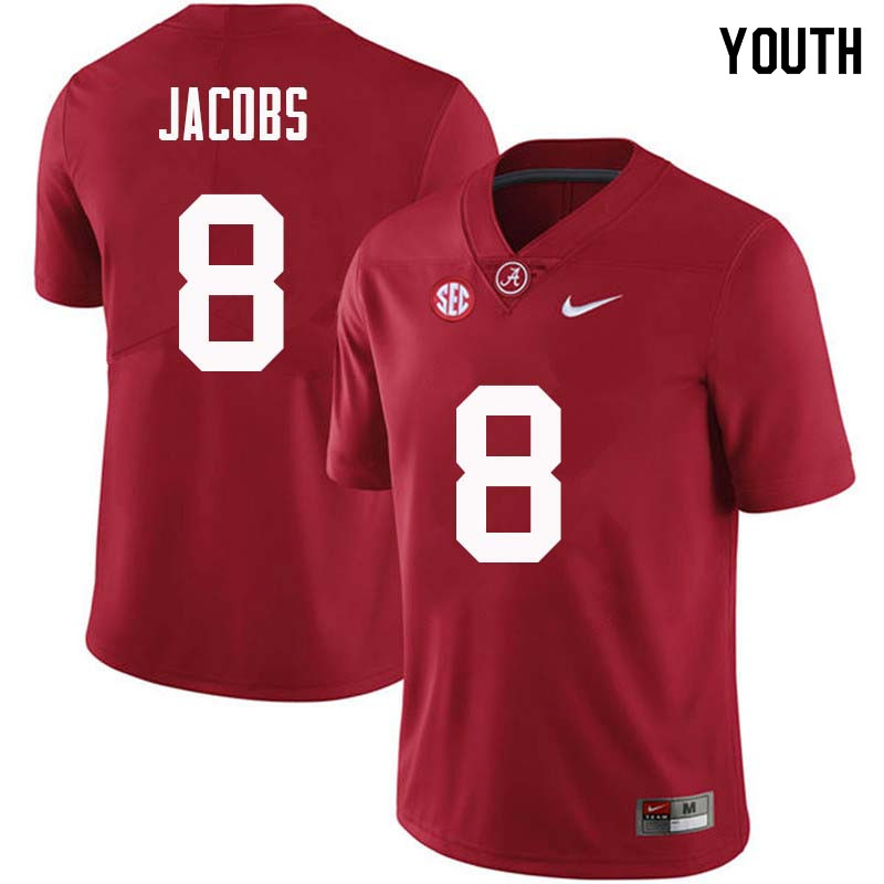 Youth #8 Joshua Jacobs Alabama Crimson Tide College Football Jerseys Sale-Crimson