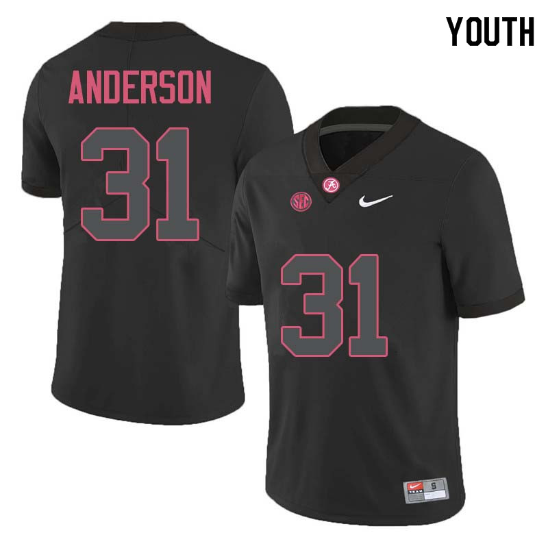 Youth #31 Keaton Anderson Alabama Crimson Tide College Football Jerseys Sale-Black