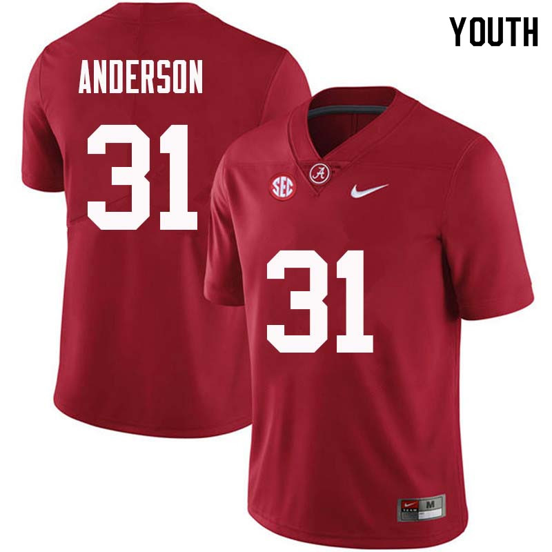 Youth #31 Keaton Anderson Alabama Crimson Tide College Football Jerseys Sale-Crimson