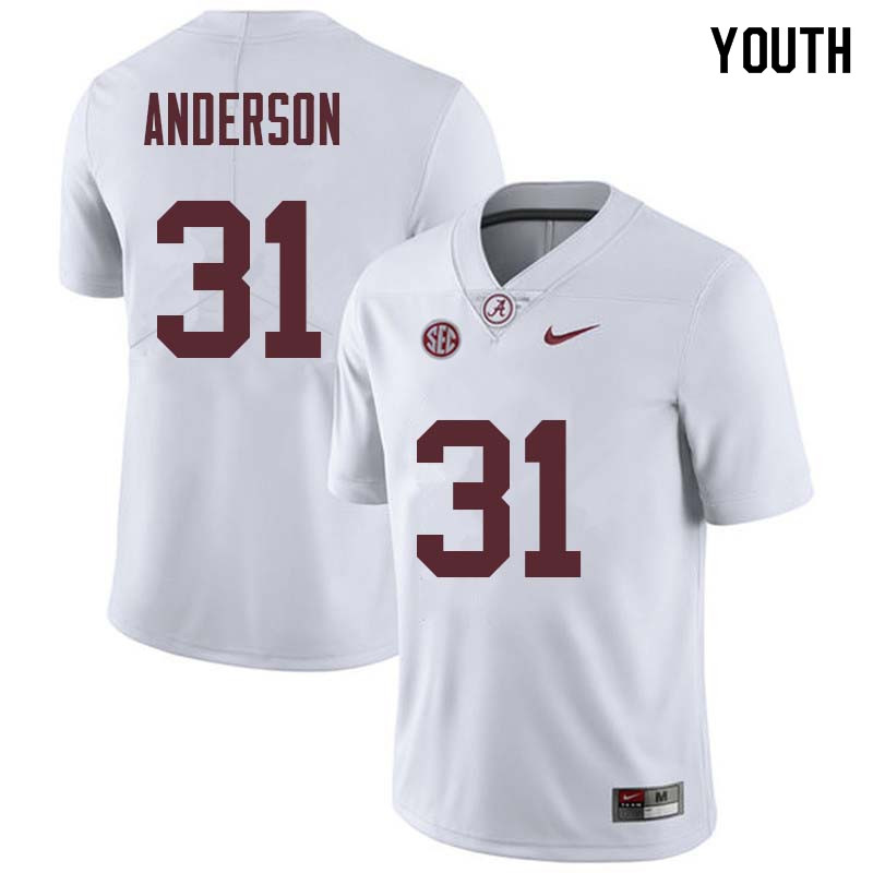 Youth #31 Keaton Anderson Alabama Crimson Tide College Football Jerseys Sale-White